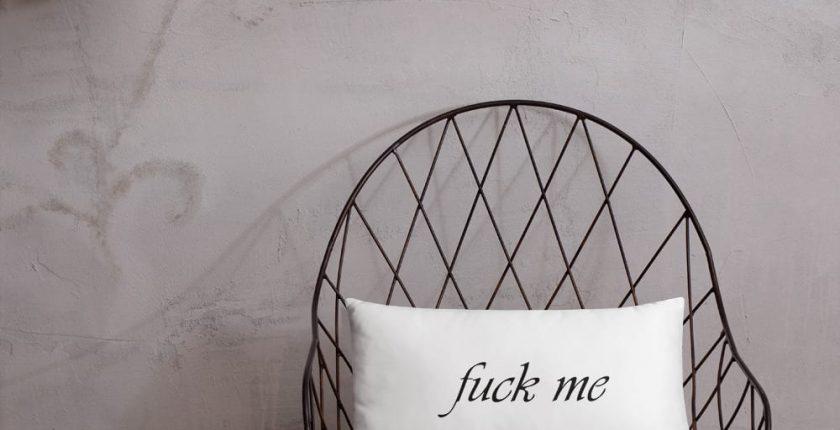 White fuck you fuck me pillow