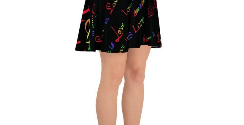 ladies black love is love skater skirt