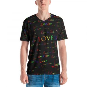 men's black love is love vneck shirt