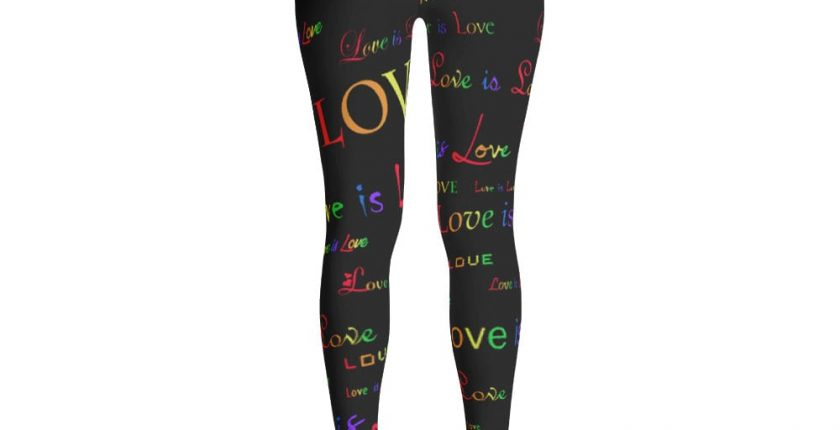 ladies black love is love tights
