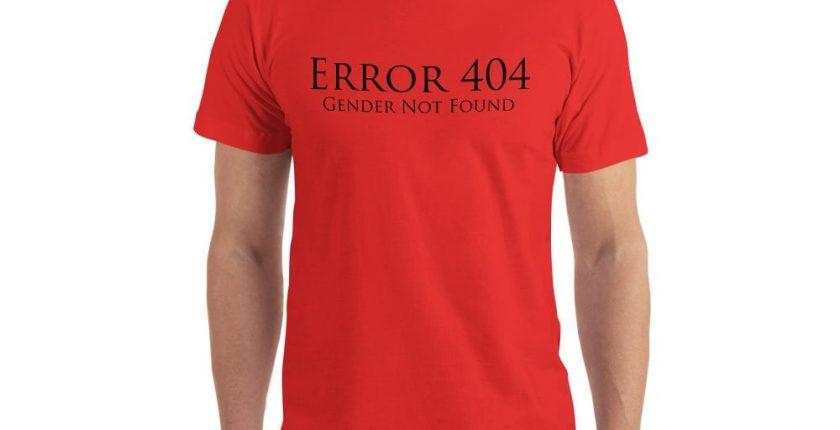 red error 404 gender not found unisex tshirt