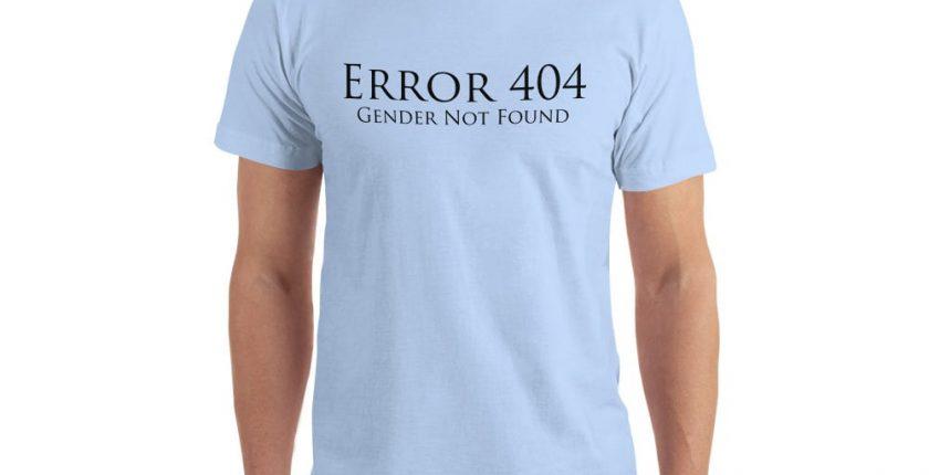 pale blue error 404 gender not found unisex tshirt