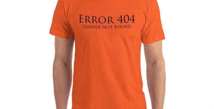 orange error 404 gender not found unisex tshirt