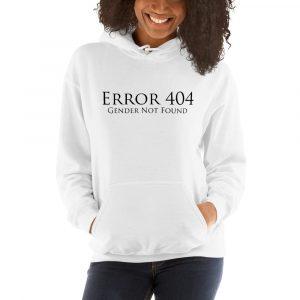 white error 404 gender not found unisex hoodie