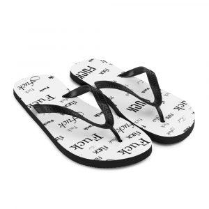 white fuck sandals