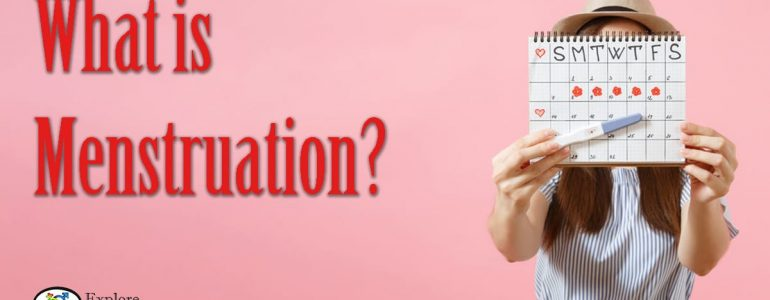 what is menstruation - woman holding up calendar and pregnancy test